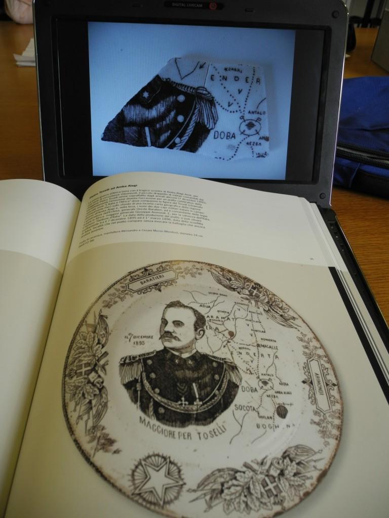 In biblioteca all'Istoreto con il libro e le foto del piatto