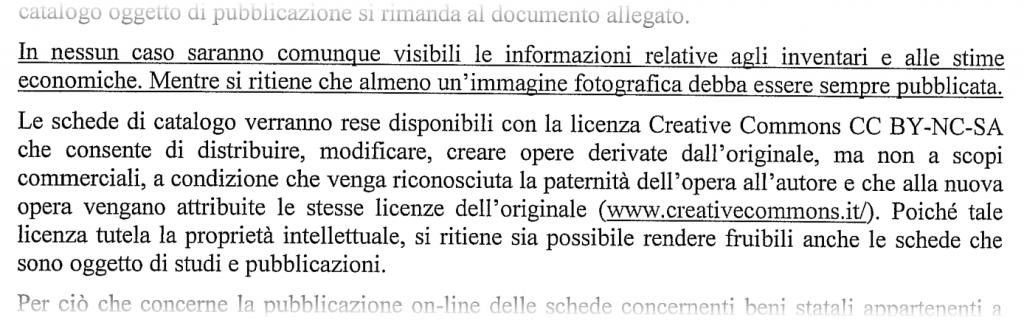 Brano della nota prot. n. 2975  del 17/11/2014 dell'Istituto Centrale per il Catalogo e la Documentazione