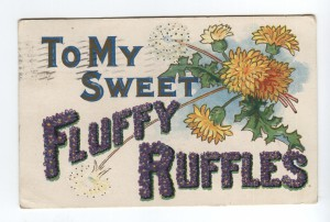 To my sweet fluffy ruffles (postcard from 1908)