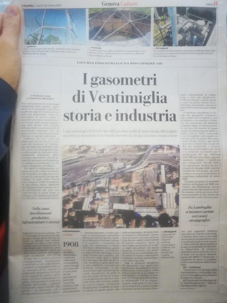 Foto dell'articolo pubblicato su Repubblica, edizione di Genova